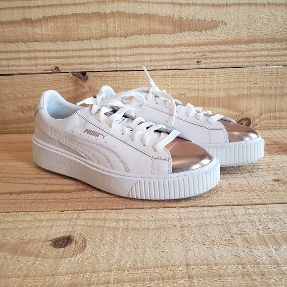new styles 9af59 ba59d Puma Basket Platform Metallic White Rose Gold Shoe
